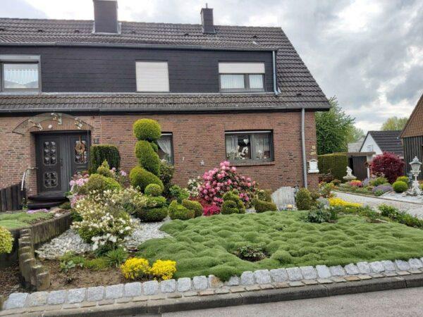 ein Moosteppich vor einem Haus