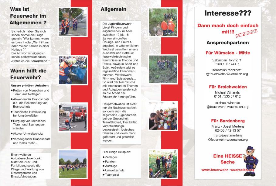 Flyer der Jugendfeuerwehr Bildern und Kontaktdaten