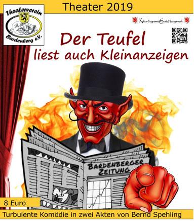 Plakat vom Theaterverein Bardenberg mit dem Hinweis auf die Komödie Der Teufel liest auch Kleinanzeigen