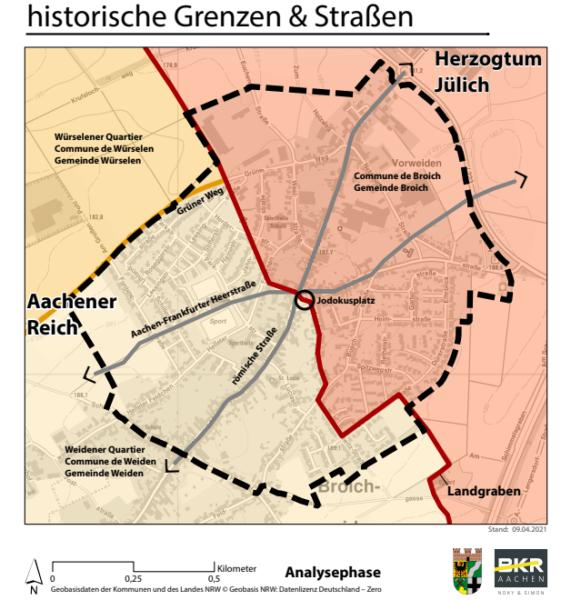 historische Grenzen und Straßen