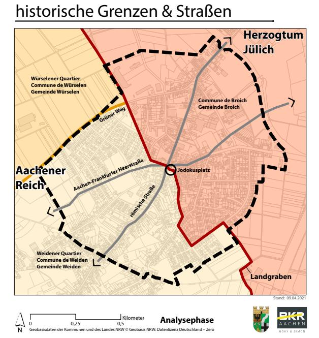 historische grenzen und strassen