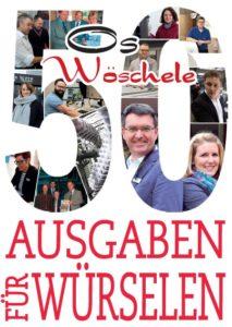 """Titel der 50. Ausgabe Stadtmagazin """"Os Wöschele"""""""